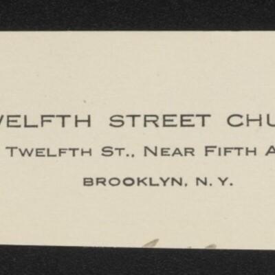 Fragment of stationery from Twelfth Street Church, Brooklyn, N.Y., circa March 1918