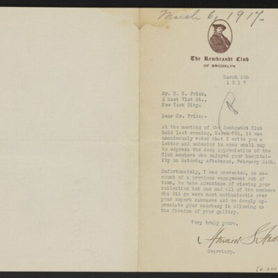 Letter from Howard S. Hadden to H.C. Frick, 6 March 1917