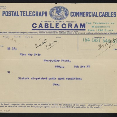 Cable from [Roger E.] Fry to Henry Clay Frick, 3 May 1910