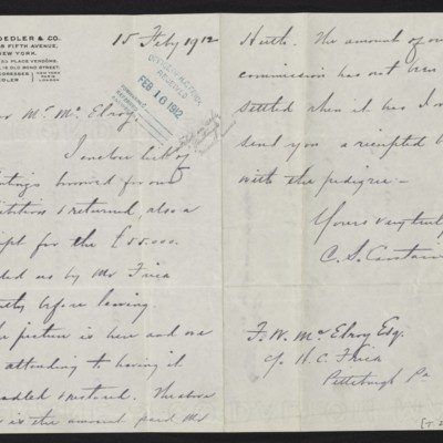 Letter from Charles S. Carstairs to F.W. McElroy, 15 February 1912