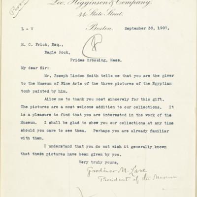 Letter from Gardiner Martin Lane to Henry Clay Frick, 30 September, 1907