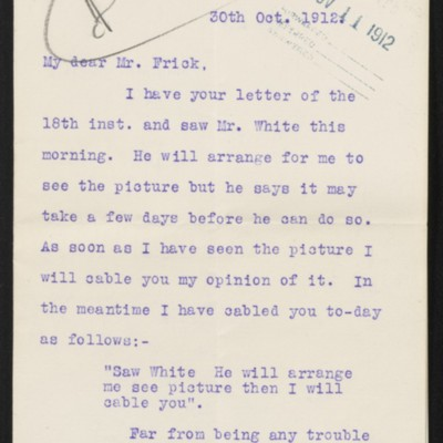 Letter from J.H. Dunn to H.C. Frick, 30 October 1912 [page 1 of 2]