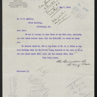 Letter from M. Knoedler & Co. to F.W. McElroy, 1 May 1912