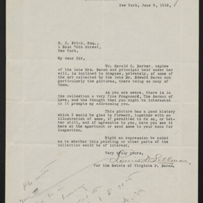 Letter from Louis D. Sellman to H.C. Frick, 9 June 1919