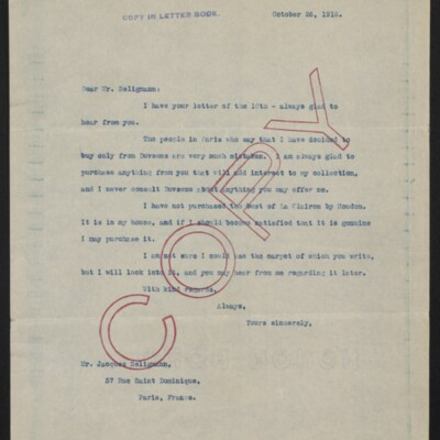 Copy of a letter from [Henry Clay Frick] to Jacques Seligmann, 26 October 1916