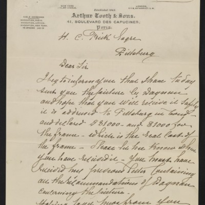 Letter from Edmond Simon of Arthur Tooth & Sons to Henry Clay Frick, 14 December 1900 [page 1 of 2]
