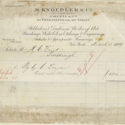 M. Knoedler & Co. Invoice, 11 March 1899