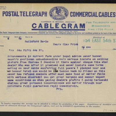 Cable from [Roger E.] Fry to Henry Clay Frick, 20 April 1910