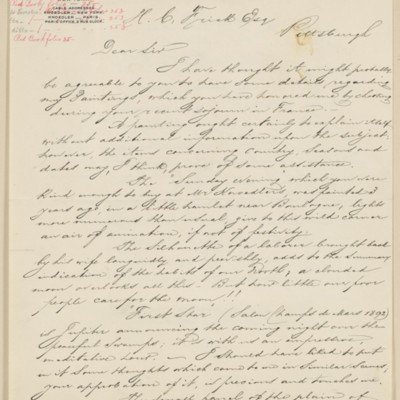 Translation of letter from Jean-Charles Cazin to Henry Clay Frick, 9 October 1895
