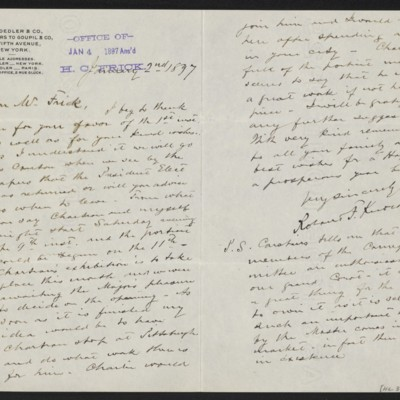 Letter from Roland F. Knoedler to Henry Clay Frick, 2 January 1897