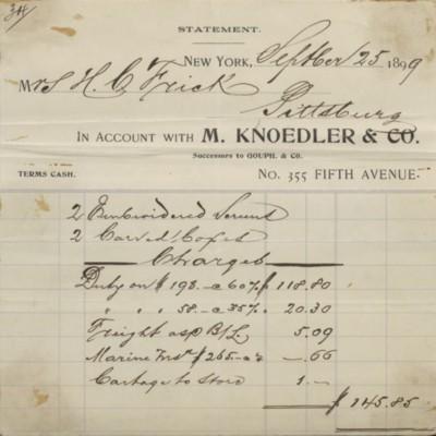 M. Knoedler & Co. Invoice, 25 September 1899