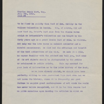 Copy of a letter from [Duveen Brothers] to Charles Henry Hart, 7 July 1916 [page 3 of 5]