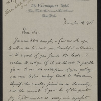 Letter from André Rostand to [Henry Clay Frick], 16 December 1918 [page 1 of 2]