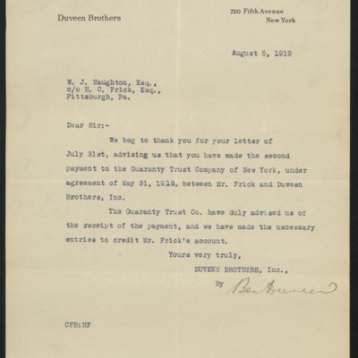 Letter from Ben Duveen to W.J. Naughton, 5 August 1919