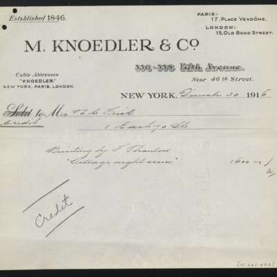 Credit invoice from M. Knoedler & Co. to Henry Clay Frick, 30 December 1916
