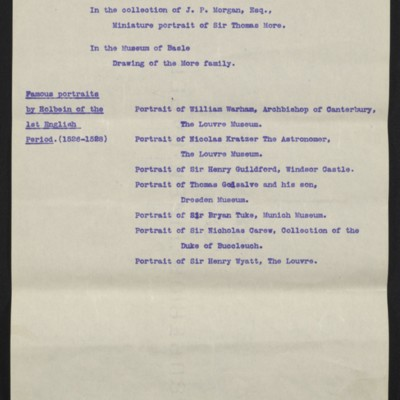"Information regarding Hobein's ""Sir Thomas More,"" circa August 1912 [page 5 of 10]"