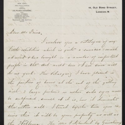 Letter from Charles Carstairs to [Henry Clay] Frick, 13 November 1908 [page 1 of 4]
