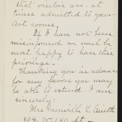 Letter from Mrs. Grenville L. Smith to Henry C. Frick, 7 April 1919 [page 2 of 2]