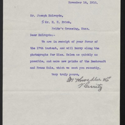 Letter from M. Knoedler & Co. to Joseph Holroyd, 18 November 1910