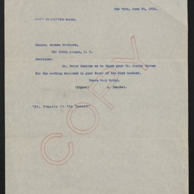 Letter from [Alice] Braddel to Duveen Brothers, 22 June 1915