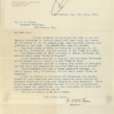 Letter from G. H. Wilson to Henry Clay Frick, 25 October 1898