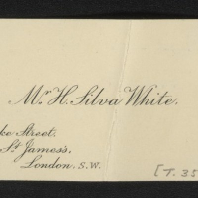 Calling Card of H. Silva White, [1912]