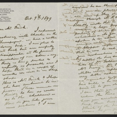 Letter from Roland F. Knoedler to Henry Clay Frick, 9 October 1899