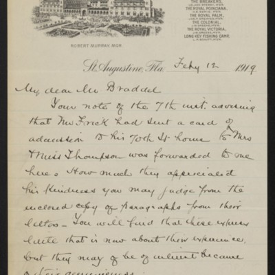 Letter from Slason Thompson to [Alice] Braddel, 12 February 1919 [page 1 of 4]