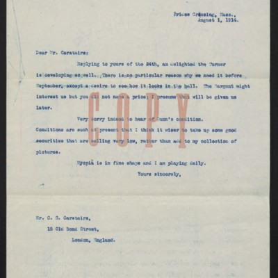 Letter from [Henry Clay Frick] to C.S. Carstairs, 1 August 1914 [front]