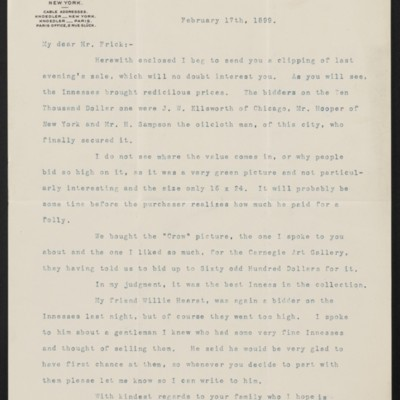 Letter from Charles L. Knoedler to Henry Clay Frick, 17 February 1899