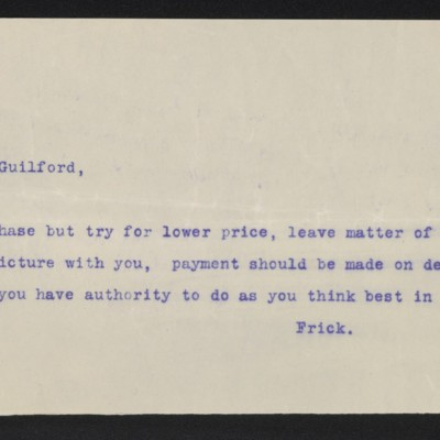 Copy of a cable from [Henry Clay] Frick to [Roger E.] Fry, circa 16 April 1910