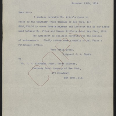 Letter from C.F. Chubb to C.H. Plattner, 29 November 1919