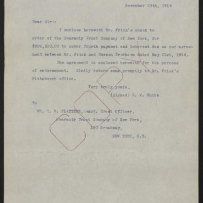 Letter from C.F. Chubb to C.H. Plattner, 29 November 1919