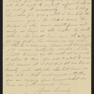 Letter from Charles S. Carstairs to [Henry Clay] Frick, 12 August 1906 [page 6 of 6]