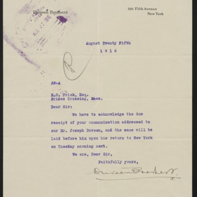 Letter from Duveen Brothers to Henry Clay Frick, 25 August 1916