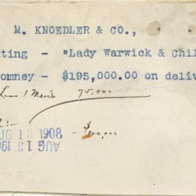 Memorandum regarding purchase from M. Knoedler & Co., 13 August 1908
