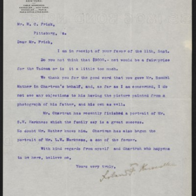 Letter from Roland F. Knoedler to Henry Clay Frick, 12 February 1898