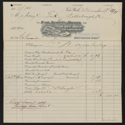 Invoice from Hensel, Bruckmann & Lorbacher to Henry Clay Frick, 27 December 1900