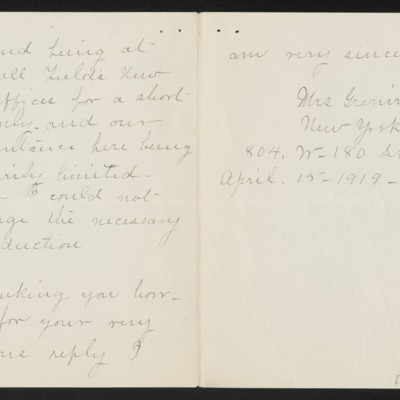 Letter from Mrs. Grenville L. Smith to Henry C. Frick, 15 April 1919 [page 2 of 2]