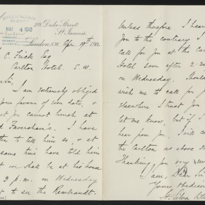 Letter from H. Silva White to Henry Clay Frick, 19 April 1912