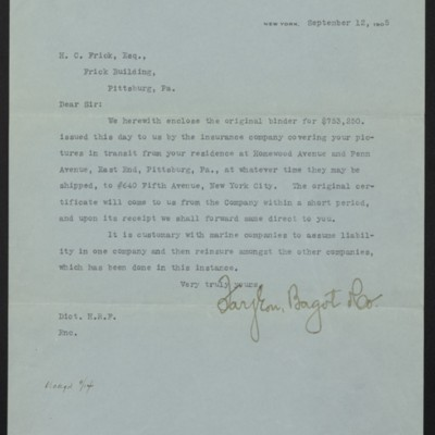 Letter from Farjeon, Bagot & Co. to Henry Clay Frick, 12 September 1905, with enclosures and notes