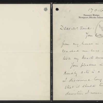 Letter from Lewis Cass Ledyard to H.C. Frick, 17 October 1917 [page 1 of 2]