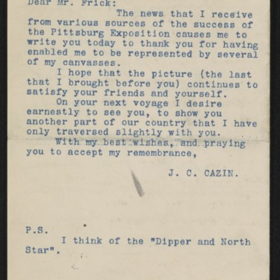 Translation of a letter from Jean-Charles Cazin to Henry Clay Frick, 5 December 1895