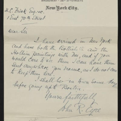 Letter from John R. Eyre to H.C. Frick, circa 5 October 1915