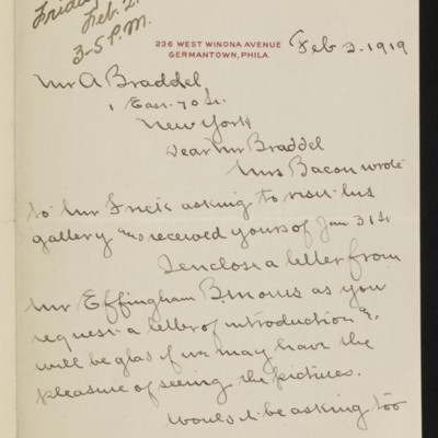 Letter from Francis Bacon to [Alice] Braddel, 3 February 1919 [page 1 of 2]