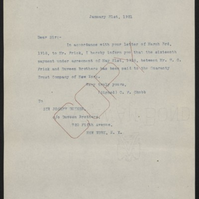 Letter from C.F. Chubb to Joseph Duveen, 31 January 1921