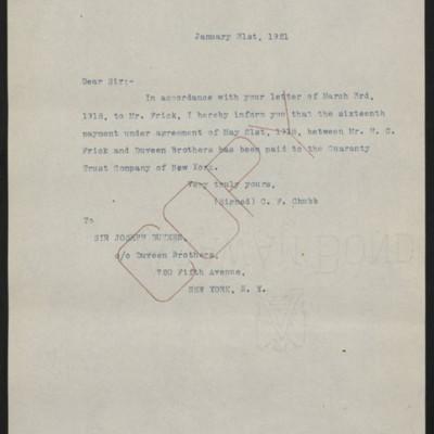 Letter fromC.F. Chubbto Joseph Duveen, 31 January 1921