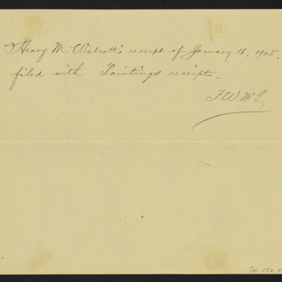 """Voucher from H.C. Frick to H.M. Walcott for """"School's Out,"""" 13 January 1905 [back]"""