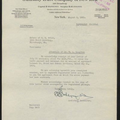 Letter from G.T. Scherzinger to Estate of Henry Clay Frick, 2 August 1920
