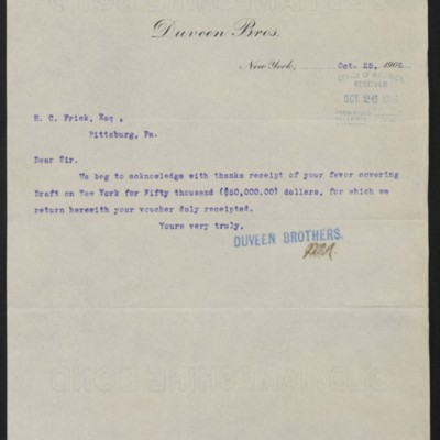 Letter from Duveen Brothers to Henry Clay Frick, 25 October 1906